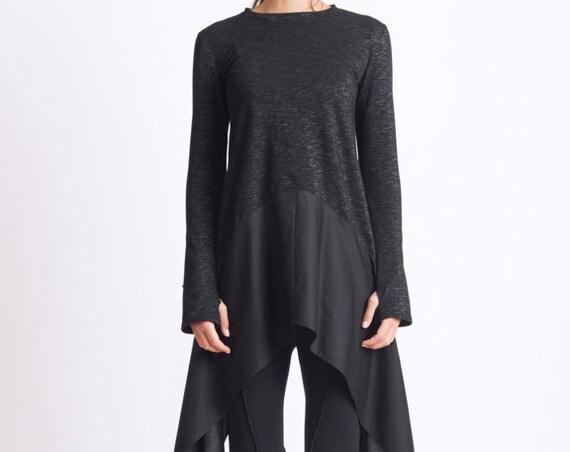 Asymmetric Black Tunic/Extravagant Tunic Top/Thumb Hole Sleeve Blouse/Casual Black Tunic/Loose Long Top/Black Long Asymmetric Tunic