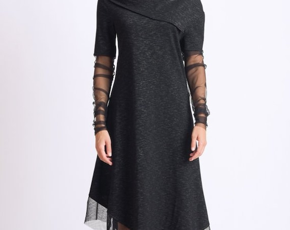 Black Asymmetric Dress/Extravagant Long Tunic with Mesh/Loose Long Sleeve Top/Black Handmade Tunic/Asymmetric Tunic Dress/Casual Dress