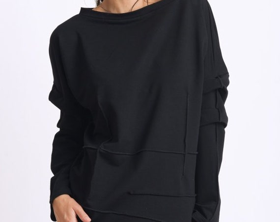 Black Tunic Top/Extravagant Sleeve Sweatshirt/Loose Maxi Tunic/Plus Size Tunic Top/Black Casual Shirt/Comfortable Everyday Blouse