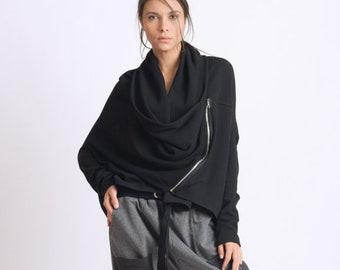 Black Loose Cardigan/Asymmetric Maxi Top/Plus Size Coat/Extravagant Short Jacket/Long Sleeve Tunic/Loose Black Top/Casual Jacket METC0057