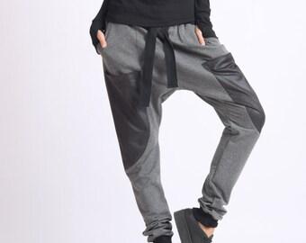 Drop Crotch Maxi Pants/Extravagant Grey Trousers/Fallen Bottom Casual Pants/Plus Size Loose Pants/Oversize Long Suede Pants/Maxi Pants