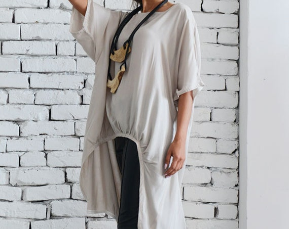 Beige Asymmetrical Top/Long Loose Blouse/Asymmetric Tunic Top/Half Sleeve Loose Tunic/Comfortable Casual Tunic/Plus Size Long Top METT0037