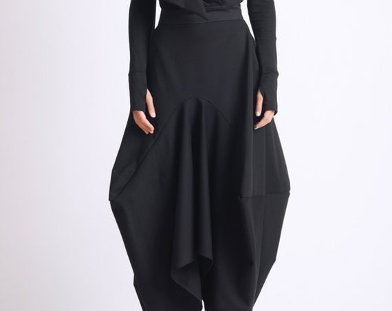 Asymmetric Black Skirt/Loose Long Skirt/Black Maxi Skirt/Extravagant Oversize Skirt/Avant Garde Jumpsuit Skirt/Black Maxi Skirt