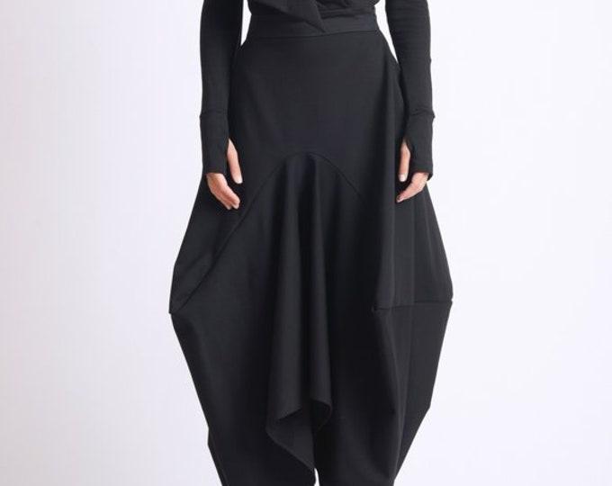 Asymmetric Black Skirt/Loose Long Skirt/Black Maxi Skirt/Extravagant Oversize Skirt/Avant Garde Jumpsuit Skirt/Black Maxi Skirt