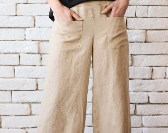 Beige Linen Pants/Maxi Pants/Linen Long Trousers/Wide Leg Plus Size Pants/Casual Everyday Pants/Asymmetric Extravagant Pants/Loose Pants