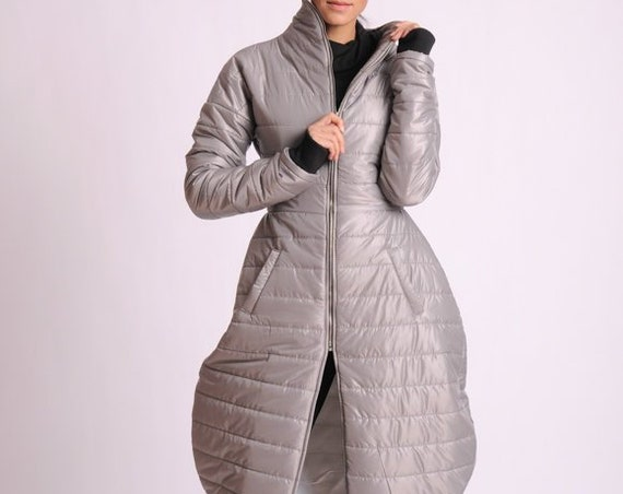 Maxi Asymmetric Coat/Long Casual Coat/Grey Asymmetric Jacket/Extravagant Jacket/Plus Size Long Top/Plus Size Long Coat/Pear Shape Coat