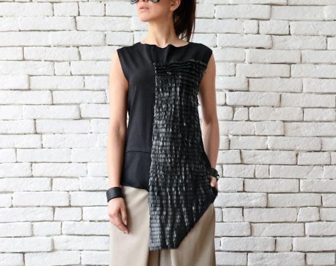 Extravagant Asymmetric Leather Top/Long Short Casual Vest/Summer Black Tunic/Leather Detail Shirt/Loose Black Tunic Top/Plus Size Tunic