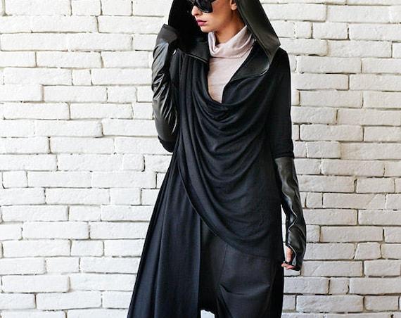 Black Loose Cardigan/Hooded Tunic/Leather Thumb Hole Sleeve Top/Extravagant Black Hoodie/Leather Hood Tunic/Black Asymmetric Top METT0080