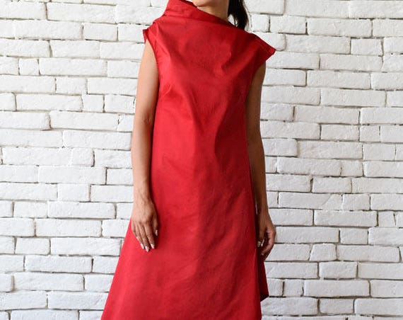 Red Asymmetric Dress/Long Short Tunic Top/Casual Summer Dress/Plus Size Dress/Red Long Tunic Top/Oversize Loose Dress/Sleeveless Dress
