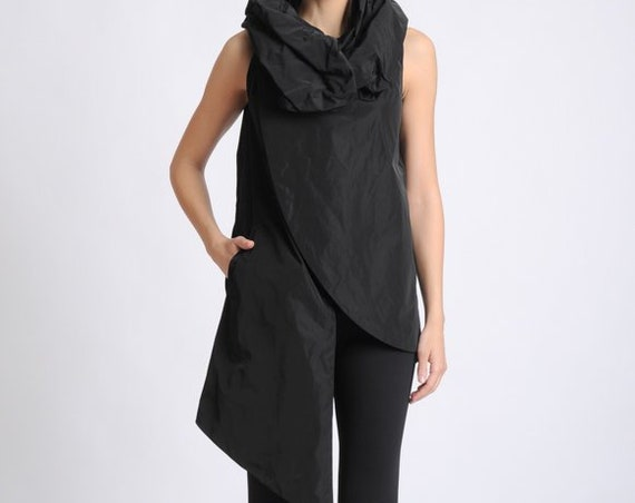 Black Asymmetric Vest/Oversize Collar Shirt/Sleeveless Extravagant Tunic/Long Black Top/Modern Casual Long Top/Black Tunic with Pocket
