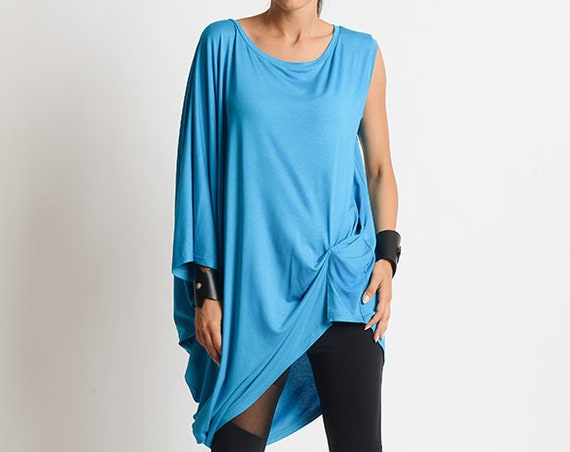 Blue Loose Maxi Top/Extravagant Asymmetric Tunic/Summer Casual Tunic Top/Blue Maxi Blouse/Oversize Loose Shirt/Blue Plus Size Maxi Tunic
