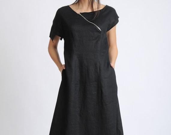 Asymmetric Black Linen Dress/Extravagant Loose Long Dress/Oversize Summer Kaftan/Black Maxi Dress/Black Dress with Front Zipper