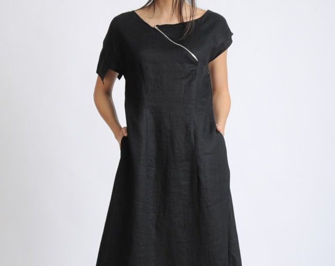 Asymmetric Black Linen Dress/Extravagant Loose Long Dress/Oversize Summer Kaftan/Black Maxi Dress/Black Dress with Front Zipper