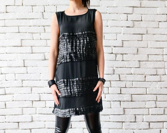 Extravagant Black Long Top/Sleeveless Casual Vest/Eco Leather Tunic/Short Black Dress/Loose Tunic Top/Plus Size Shirt/Summer Black Top