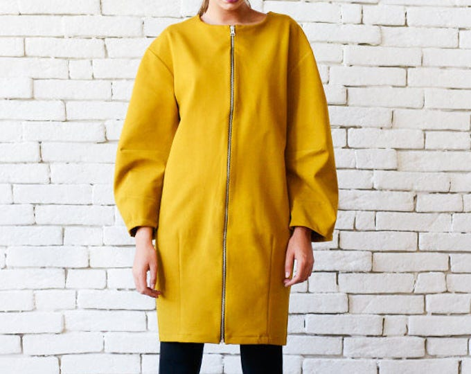Mustard Zipper Dress/Extravagant Short Coat/Yellow Maxi Tunic/Long Sleeve Dress/Autumn Jacket/Plus Size Coat/Oversize Short Dress/Maxi Coat