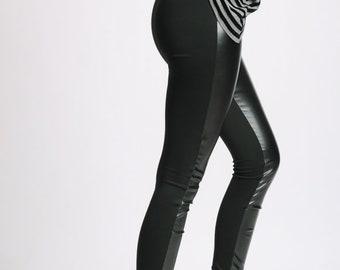 Long Leggings/Black Leather Pants/Slim Black Woman Pants/Elegant Tight Black Pants/Cigarette Long Leather Leggings/Extravagant Leggings