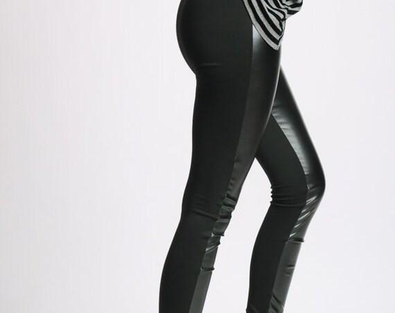 Long Black Leggings/Black Leather Pants/Slim Black Woman Pants/Elegant Tight Black Pants/Cigarette Long Leather Leggings МЕТP0002