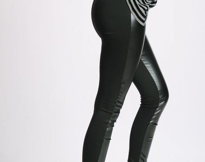 Long Leggings/Black Leather Pants/Slim Black Woman Pants/Elegant Tight Black Pants/Cigarette Long Leather Leggings/Extravagant Leggings