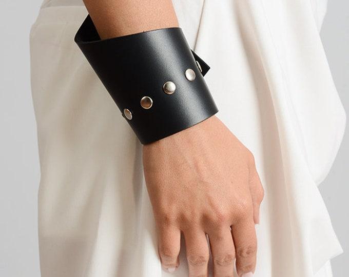 Asymmetric Leather Bracelet/Black Genuine Leather Studded Bracelet/Black Leather Cuff with Studs/Handmade Leather Wristband/Black Cuff