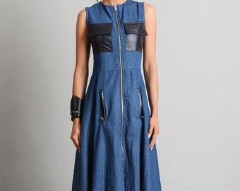 45f6a58e13 Long Loose Denim Dress Elegant Pocket Dress Denim Long Zipper Dress Sleeveless  Denim Kaftan Extravagant Jean Dress with Leather Pockets