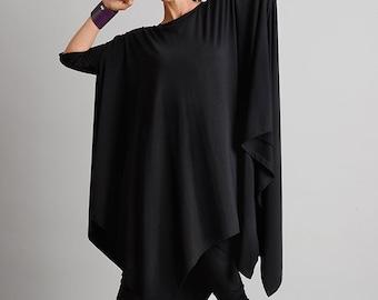 Black Maxi Tunic/Asymmetric Loose Top/Casual Everyday Tunic/Maxi Black Tunic/Plus Size Maxi Tunic/Oversize Loose Shirt/Black Long Top