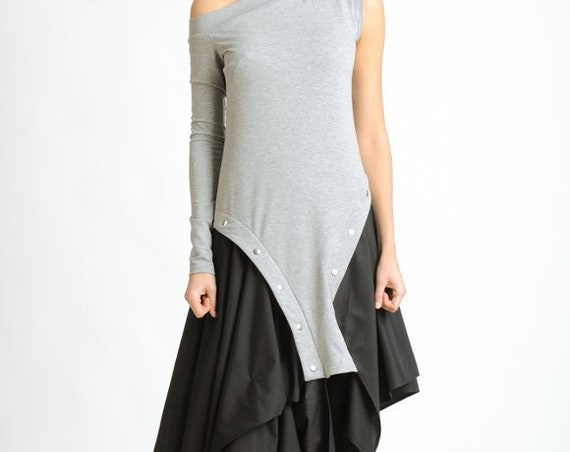 Black and Grey Loose Dress/Extravagant Asymmetric Kaftan/Off the Shoulder Studded Dress/Sleeveless Tunic Dress/Long Sleeve Studs Dress