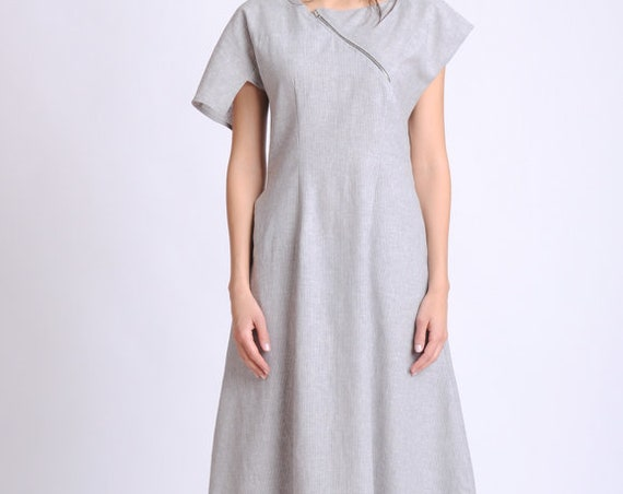 Loose Grey Linen Dress/Asymmetric Summer Kaftan/Short Sleeve Casual Dress/Linen Maxi Dress with Zipper/Long Summer Dress with Pockets