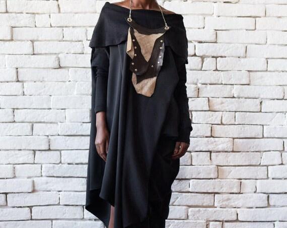 Asymmetric Black Dress/Maxi Black Dress/Loose Casual Dress/Black Oversize Tunic/Long Sleeve Drape Dress/Plus Size Long Top/Black Sexy Dress