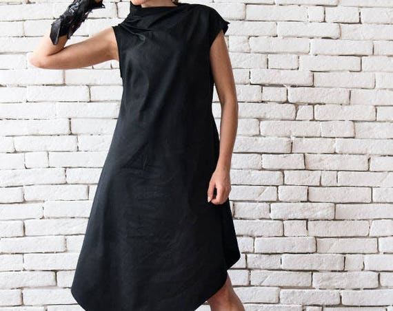 Black Asymmetric Dress/Plus Size Loose Tunic/Extravagant Long Top/Sleeveless Black Dress/Maxi Black Dress/Black Maxi Dress METD0083