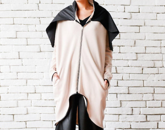 Asymmetric Loose Jacket/Beige and Black Coat/Oversize Collar Tunic/Extravagant Zipper Jacket/Plus Size Coat/Beige Maxi Tunic Top METC0052