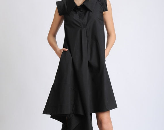 Black Loose Casual Dress/Sleeveless Asymmetric Tunic Dress/Black Shirt Dress/Extravagant Summer Dress/Oversize Long Top/Pocket Dress