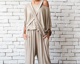 Fallen Sleeve Beige Jumpsuit/Maxi Onepiece/Plus Size Long Pants/Asymmetric Beige Top/Long Beige Jumpsuit/Casual Summer Suit/Loose Tunic