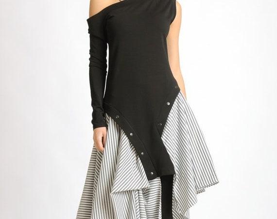 Extravagant Stripe Dress/Asymmetric Tunic Dress/Studded Black Dress/One Long Sleeve Dress/Naked Shoulder Dress/Loose Eccentric Dress