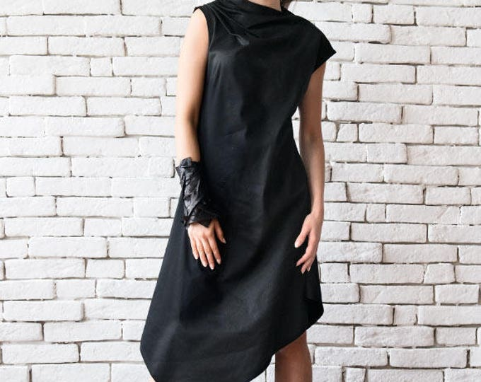 Loose Black Tunic Dress/Asymmetric Black Dress/Sleeveless Party Dress/Black Summer Kaftan/Long Short Dress/Plus Size Dress/Maxi Black Dress