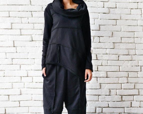 Black Loose Set/Asymmetric Maxi Set/Everyday Tracksuit/Loose Black Tunic/Black Maxi Pants/Black Capris/Long Sleeve Tunic/Wide Leg Pants