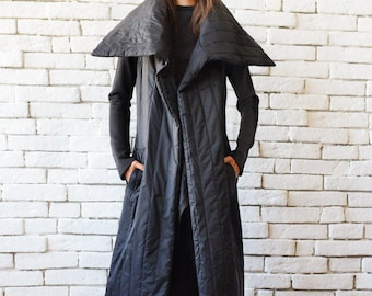 3759af3c9d634 Loose Long Sleeveless Coat Quilted Wool Oversize Top Plus Size Collar Jacket Black  Long Coat No Sleeve Long Black Cardigan Black Warm Vest