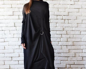 Extravagant Black Long Sleeve Dress/Plus Size Maxi Dress/Black Maxi Dress/Front Effect Long Tunic/Oversize Casual Top/Loose Black Tunic