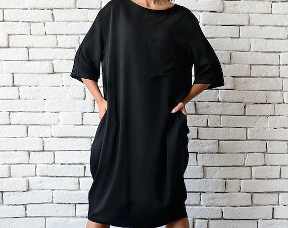 Short Loose Black Dress/Plus Size Casual Tunic/Half Sleeve Oversize Top/Maxi Black Dress/Long Black Top/Black Maxi Dress/Everyday Dress