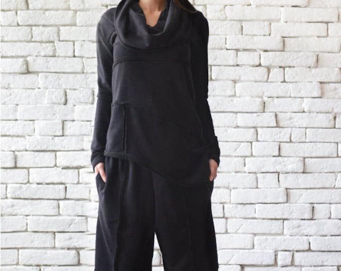 Black Sports Set/Casual Black Tracksuit/Loose Tunic Top/Plus Size Black Pants/Everyday Casual Set/Wide Leg Trousers/Black Long Sleeve Top