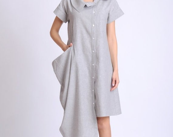 Light Grey Asymmetric Dress/Extravagant Button Dress/Casual Linen Tunic Dress/Summer Dress with Short Sleeves/Large Collar Shirt Dress