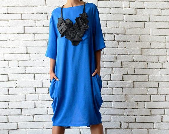 Blue Maxi Dress/Short Casual Dress/Plus Size Tunic/Loose Blue Tunic Dress/Summer Blue Kaftan/Everyday Work Dress/Oversize Blue Tunic Top