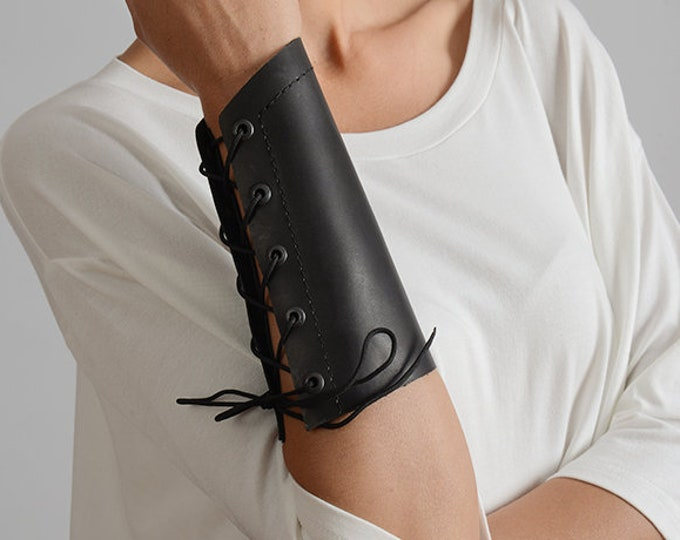 Black Genuine Leather Cuff/Extravagant Bracelet with Ties/Handmade Black Leather Wristband/Extra Large Black Bracelet/Leather Hand Band