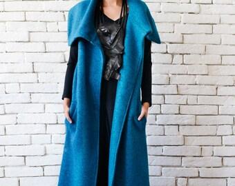 Blue Petrol Winter Coat/Long Warm Coat/Oversize Blue Jacket/Wool Vest with Large Collar/Elegant Evening Coat/Blue Plus Size Sleeveless Coat
