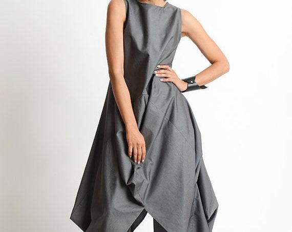 Grey Loose Oversize Dress/Plus Size Casual Dress/Extravagant Tunic Dress/Grey Maxi Dress/High Low Tunic Top/Sleeveless Asymmetric Kaftan