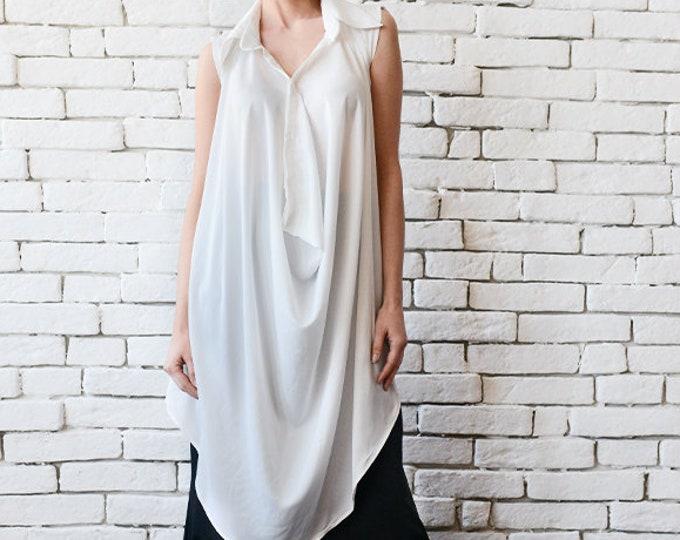 White Loose Long Top/Sleeveless Maxi Tunic/Asymmetric White Shirt/Oversize Maxi Top/Plus Size Casual Blouse/Oversize Collar White Shirt