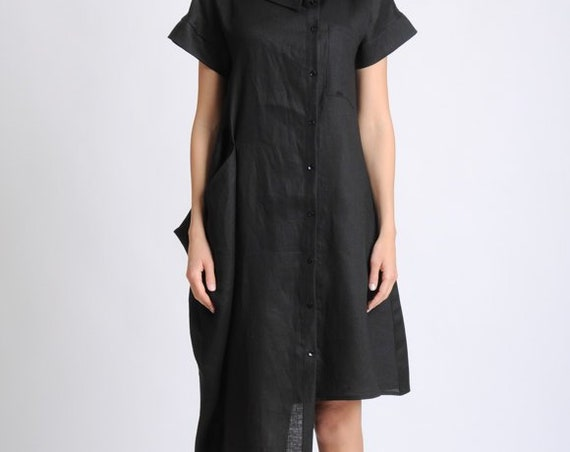 Black Linen Dress/Asymmetric Tunic Dress/Large Collar Shirt Dress/Short Sleeve Casual Dress/Black Loose Dress/Black Summer Linen Dress