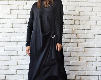 Plus Size Maxi Dress/Alternative Fashion Dress/Black Kaftan/Long Sleeve Asymmetric Tunic/Loose Dress with Metal Ring/Casual Everyday Dress