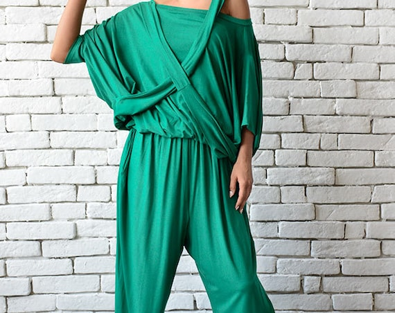 Green Loose Jumpsuit/Extravagant Wide Leg Pants/Asymmetric Harem Pants/Plus Size Overall/Green Maxi Jumpsuit/Green Summer Casual Jumpsuit