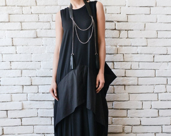 Black Maxi Dress/Extravagant Black Kaftan/Asymmetric Plus Size Dress/Sleeveless Oversize Tunic Top/Suspenders Back/Casual Dress METD0096