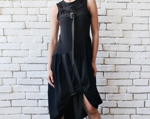 Extravagant Black Dress/Asymmetric Tunic Dress/Sleeveless Black Dress with Buckles/Casual Black Dress/Oversize Black Tunic/Dress with Clasps